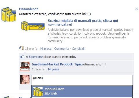 Facebook: taggare amici e pagine nei commenti