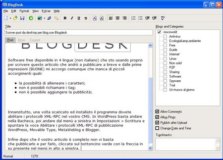Scrivere post da desktop per blog con Blogdesk
